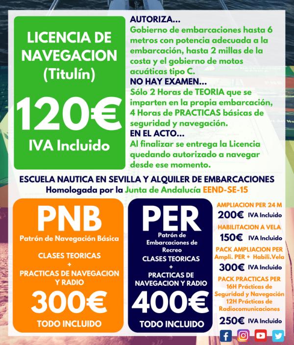 Precios PER PNB Licencia de Navegación